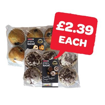 SPAR enjoy local Chocolate Orange / Raspberry / Blueberry / Chocolate / Iced Muffins  | 6 Pack